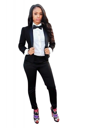 Style no.16128 - Get party-ready with this stunning womens tailor made slim fit wool black tuxedo, featuring a womens handmade short length tuxedo jacket and womens tailor made slim fit suit pants. The womens handmade black tux jacket has a single breasted style, a shawl collar with satin-facings lapels, and a classic medium gorge. The womens handmade dress pants have flat fronts with a zipper fly for front closure. Buy this trendy womens tailor made wool tuxedo at My Custom Tailor and get ready for weddings and corporate events in no time.