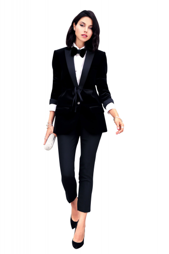 Style no.16133 - This gorgeous womens tailor made black tuxedo jacket in 120s superwool is a show stealer you can wear to all corporate gatherings, weddings, and formal events. With an exquisitely designed shawl collar with satin facings lapels and 2 trendy double piped lower pockets, this womens made to order slim fit dinner jacket is an iconic single breasted garment with 1 front button to close. Buy this womens bespoke black tuxedo jacket at My Custom Tailor to flaunt a major trendsetting look wherever you go.