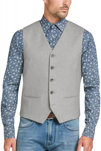 Dapper mens handmade light grey vest in poplin cotton. Gives a stunning work look that you can flaunt at board meetings and interviews. With a stunning plaid pattern, this mens custom made slim fit vest features 5 color contrasting black front buttons to close. This mens tailor made cotton waistcoat also shows an amazing display of features like a stylish V-neck and 2 piped lower pockets. You can buy this handsome mens made to measure vest to be a part of your premium quality handmade corporate garments at My Custom Tailor.