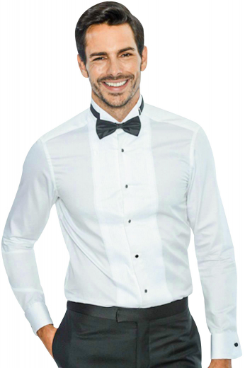 You can wear this dapper mens handmade white tuxedo shirt in cotton poplin to weddings and cocktail parties. With an iconic wing tip collar and squared edge french cuffs, this stunning mens custom made dress shirt also features a placket front with contrasting black front closure buttons for maximum comfort. Buy this mens tailor made cotton tuxedo shirt at My Custom Tailor to be a part of your classic mens handmade premium clothing range at affordable rates.