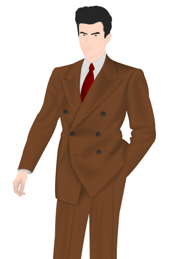 A classic vintage double breasted suit with so much character it will certainly turn heads anywhere you go. This wonderfully made to measure suit is made up of a six button design with a two button closure. This brown winter coat is then paired with a charming pair of men's tailored suit pants.