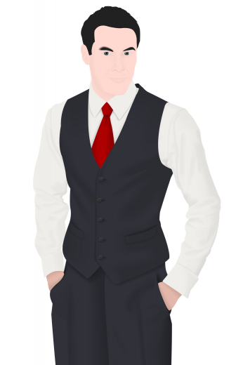 Style no.16236 - A slim cut single breasted men's vintage waistcoat that is skillfully made to measure just for you in a striking shade of black. This classic waistcoat is made up of features such as a v-neck with no lapels, a cloth back with an adjustable buckle, welted lower pockets, and a classic five button design. Paired with any formal suit, this vintage waistcoat will look sharp.