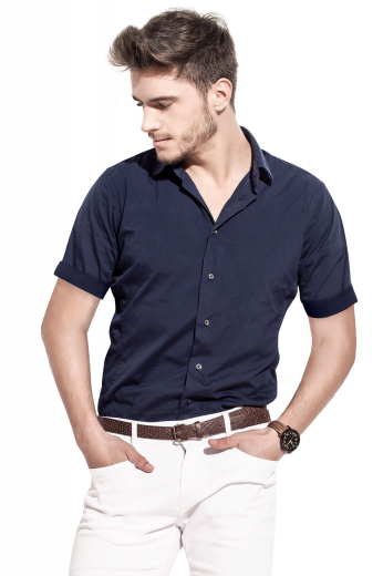 Here's a classic men's hand tailored short sleeve custom shirt with a flattering and modern slim cut you will love. Featuring a breathable back, a classic Ainsley collar, a cuffed dapper sleeves, placket front, and standard tails, this men's made to measure shirt lets you stand out at work and business meetings.