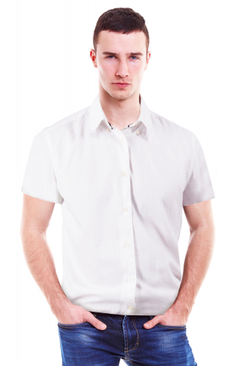 This made to measure men's crisp white short sleeves formal shirt features a flattering slim cut design. It has a plain and simply elegant front and back, standard dress shirt tails, and a European narrow forward point collar to make you look absolutely stylish and debonair. Perfect for the office and other business functions.