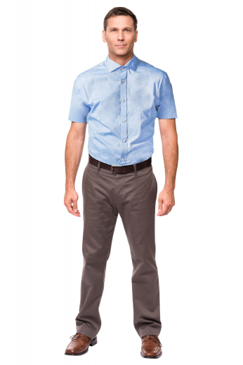 This handsome mens handmade sky blue shirt is a trendy formal that can be worn to work daily. Fabricated with cotton, this mens bespoke short sleeves shirt puts to display a stunning full spread collar with 2 stylish 1/2 inch collar points. It is an excellent mens tailor made formal shirt that is made super comfortable with a plain back and a placket front. Order online at My Custom Tailor to own this mens bespoke shirt for the style that speaks for itself.