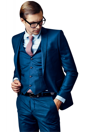 This is an iconic handmade blue three piece suit that's woven in wool to suit the needs of men who like style and elegance at work. It features a mens bespoke pant, a mens handmade slim fit vest, and a mens custom blazer. The mens bespoke pant is a combination of features like extended belt loops, a zipper fly and a two point button and hook closure. The mens handmade vest is made single breasted with 4 front close buttons. The mens bespoke blazer features 1 front close button, angled upper welt pocket, and 2 lower flap pockets.