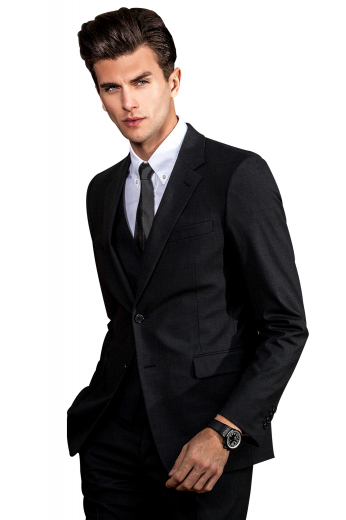 This iconic handmade black 3 piece wool suit for men features a flat front mens bespoke pant, a mens slim cut vest, and a mens custom blazer. The slim fit mens bespoke pant features a two point button and hook closure, slash pockets, and zip fly. The mens bespoke vest has a 5 button front closure and a V neck. The mens custom black suit jacket is woven to display a slim fit cut with 2 front close buttons, 2 lower flap pockets, and 1 upper welt pocket. Order online at My Custom Tailor to buy this stellar mens bespoke black suit.