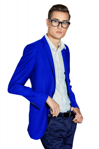 These men's bright blue blazer are tailor made in a fine wool and tweed and cut to a slim fit, featuring single breasted button closure and hand stitched lapels. It is a fantastic formal wardrobe staple!