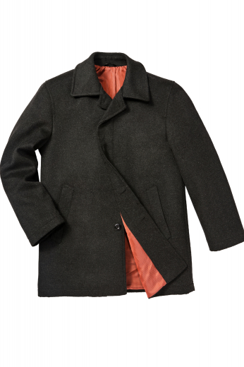 This men's black coat is fashionable for any formal occasion. It is tailor made in a fine wool and tweed and cut to a slim fit, featuring a single breasted button closure and a high notch, edge stitched lapels.