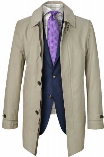 Style no.16499 - This men's pale tan coat is tailor made in a fine wool and tweed and cut to a slim fit, featuring a single breasted button closure and a shirt collar lapel. It is a fashionable coat, sure to become a favorite in your winter wardrobe!