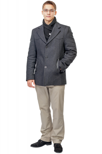 Style no.16500 - This men's charcoal coat is tailor made in a fine wool and tweed and cut to a slim fit, featuring a single breasted button closure and welt pockets.