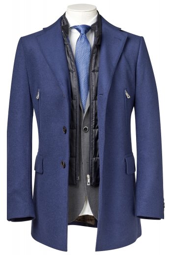 Style no.16506 - This men's dark blue coat is tailor made in a fine wool and tweed and cut to a slim fit, featuring a single breasted button closure and edge stitched pockets. It is a fashionable winter coat, sure to become a favorite in your winter wardrobe!