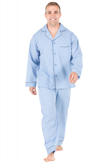 Style no.16582 - This men's blue pajama set is tailor made in fine silk and satin and cut to a comfortable fit, featuring handsewn cuff hems. It is a luxurious and cozy nightwear option that you will love to wear to lounge and sleep in.