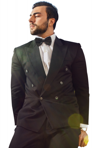Style no.16753 - This sleek men's pant suit is tailor made in a fine wool blend and cut in a slim fit, featuring  double breasted button closures and slash pockets.