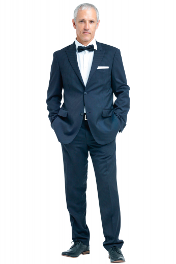 Style no.16803 - This men's pant suit is tailor made in a fine wool blend, featuring a single breasted button closure, peak lapels, and slash pockets. It is perfect for all formal occasions.