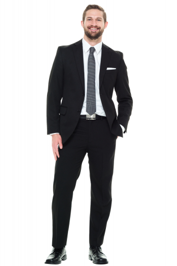 This classic men's black suit in a slim fit cut features two button, center vents, flap pocket. The pants feature a slash pocket and two back pockets, making for a practical and sleek option for your formal occasion.