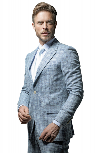 Very Modern Styled Business Mens Suit, Peak lapel, Slim fitting two button Jacket featuring flap pockets and side vents. Pants are flat front, slash pockets and one back pocket on right.