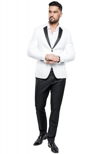 This men's pant suit is tailor made in a fine wool blend, featuring contrast trim, satin lapels and a single breasted button closure.