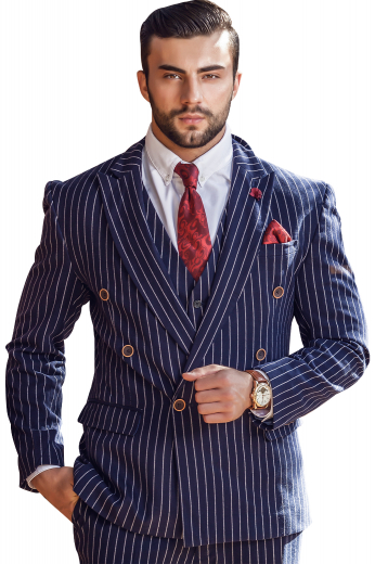 Style no.16867 - A stunning men's striped navy custom made to measure suit set made up of a navy jacket  tailor made to a slim cut, featuring a double breasted button closure and peak lapels and slim fit flattering pants.
