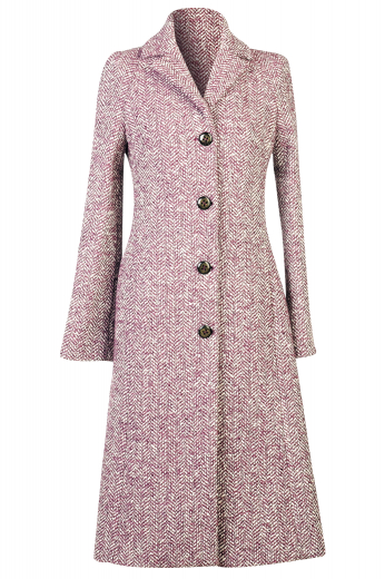 This calf length women's coat is tailor made in a fine red and white wool blend. It is designed in a single breasted button closure with a notch lapel, providing a classic option for everyday winter wear.