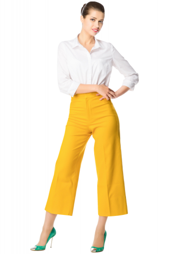 You will look amazing in this pair of custom tailored bold yellow wide leg pants. This women's pant is tailor made in a wool blend. It features front pockets and flare legs. It is perfect for all occasions.