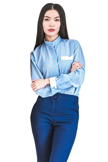 Style no.17015 - A stylish pair of custom tailored women's blue formal pants. This women's pant is tailor made in a wool blend. It features front pockets and a standard button closure, perfect for all occasions.
