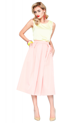 Style no.17155 - This beautiful pleated midi skirt will be your favorite for years to come. Tailor made in a beautiful wool blend, the skirt is modestly tailored to an ankle length.