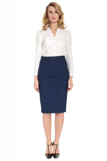 Style no.17157 - This pencil skirt is beautifully custom made to suit your style. With a zipper closure and a modest center back vent, it will keep you sleek and stylish all day. This custom made to measure women's pencil skirt sits beautifully at knee length and will leave you looking sophisticated all day.