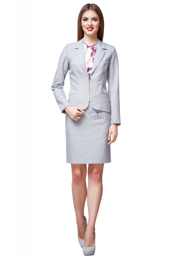 Style no.17165 - This beautiful grey suit is perfect for any business endeavor. Made to measure to a perfect fit, it features a classic single breasted blazer and a modest skirt.