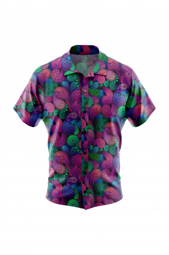 Paisley Pattern Men Short Sleeved Shirt for casual wear