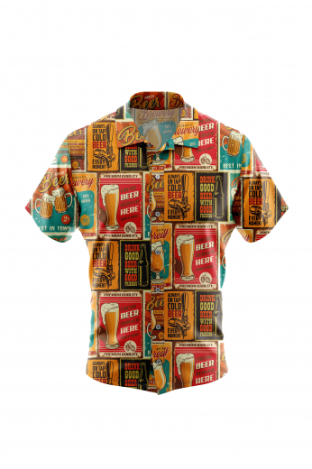 Men's Wrinkle Funny Cheers Beer Print Short Sleeved Summer Shirt in Poplin Finish. The design has a custom print in a cheeky look and the fabric is super soft poplin finish for wrinkle-free and easy care to be worn with Jeans or Cotton chinos for a casual occasion.