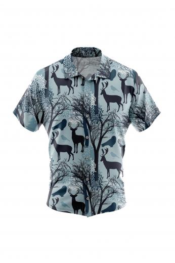 Reindeer Print Short Sleeved Mens Casual Wear Summer Shirt