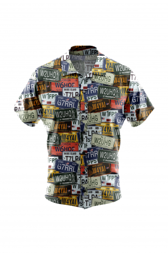 Fancy USA State Car Number Plate print Mens Short Sleeves Shirt for Summer Wear