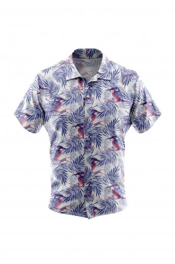 Woodpecker Bird Print Men Short Sleeved Shirt for Casual Summer Wear