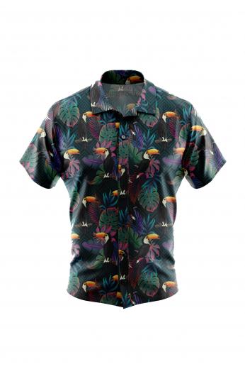 Toucan Bird Print Mens Short Sleeve Shirt for Casual Summer Wear