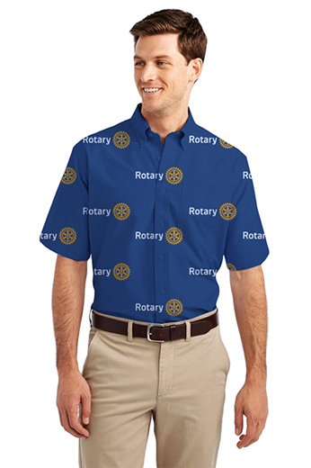 French blue rotary logo print short sleeve shirt tailored in a comfortable and relaxed loose fit that's great for outdoor summer day. This highly breathable summer features a classic button down collar and a standard pocket on the left, this custom shirt also features a placket front and standard tails.