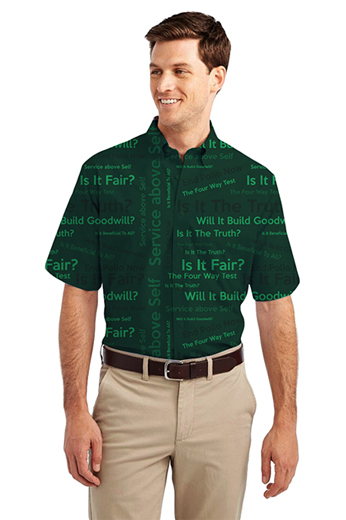 Forest Green Rotary Four Way Test logo Print Short Sleeve Shirt featuring button-down Collar for Semi Formal look
