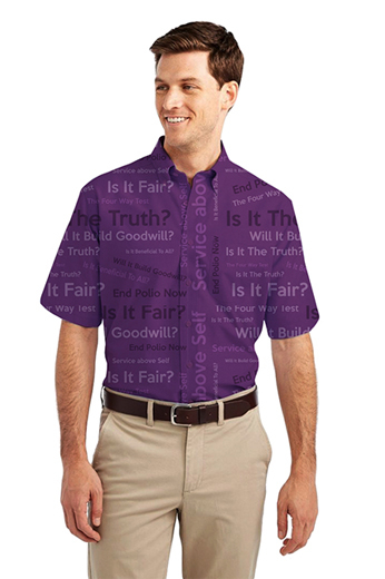 Plum Rotary Four Way Test logo Print Short Sleeve Shirt featuring button-down Collar for Semi Formal look