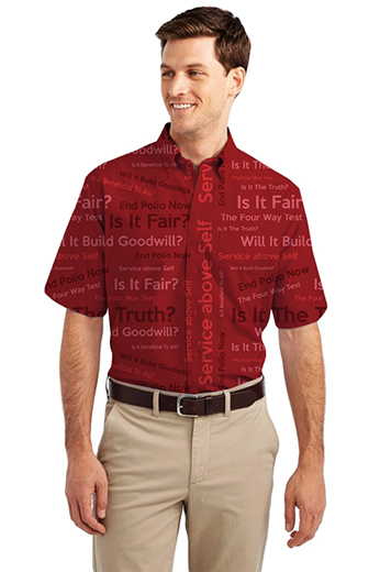 Women's hand tailored red shirt with a loose and comfortable design. This custom made men's shirt has a classic button down collar and stunning standard short sleeves as well as a standard pocket on the left. This shirt has a standard placket front and standard tails.