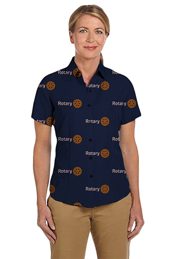 Dark Blue Rotary logo print short sleeves shirt featuring Hawaiian collar and tucked out style for casual wear. This custom made dark blue women's shirt will make a great addition to any club member's essential closet.