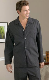 Style no.9844 - A tailor-made men's comfortably loose cut rounded bottom dark grey pajama button-down shirt with matching loose cut flat front pants with the elegant touch of on-seam pockets.